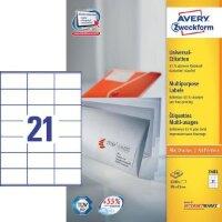 Этикетки самоклеящиеся Avery Zweckform белые 70х41 мм 21 штука на листе A4 100 листов