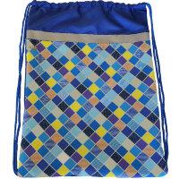 Мешок для обуви №1 School Клетка синяя 370x470мм со светоотражателем,МСО-5с