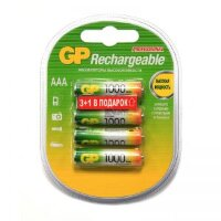 Аккумуляторные батарейки GP AAA 4 штуки (1000 мАч  Ni-Mh)