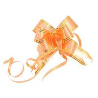 Набор подарочных бантов 30x500 мм оранжевые с золотистыми полосками 10 штук в упаковке