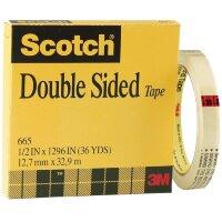 Клейкая лента канцелярская 3М Scotch 665 двусторонняя 12.7 мм х 33 м