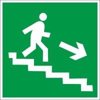 E13 Направление к эвакуационному выходу по лестнице вниз правосторонний плёнка 200х200 мм