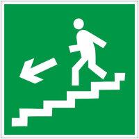 E14 Направление к эвакуационному выходу по лестнице вниз левосторонний  плёнка 200х200 мм