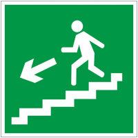 E14 Направление к эвакуационному выходу по лестнице вниз левосторонний пленка ПВХ фотолюминисцентное покрытие 200х200 мм