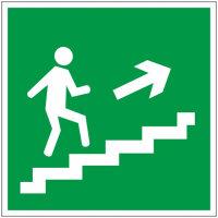 E15 Направление к эвакуационному выходу по лестнице вверх правосторонний пленка ПВХ фотолюминисцентное покрытие 200х200 мм