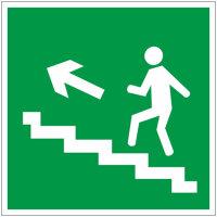 E16 Направление к эвакуационному выходу по лестнице вверх левосторонний пленка ПВХ фотолюминисцентное покрытие 200х200 мм