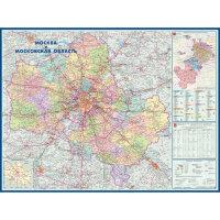 Настенная административная карта Москвы и Московской области 1:270 000