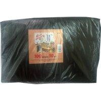 Мешки для мусора на 100 литров черные 50 мкм 10 штук в пачке 70x110 см
