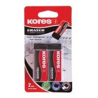 Ластик Kores KE-20 Black черный виниловый 2 штуки в наборе