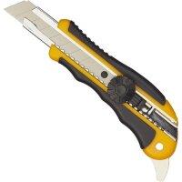 Нож канцелярский Attache 18 мм с резиновыми вставками роликовым фиксатором