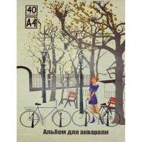 Альбом для акварели Альбом для рисования акварелью 40л,склей А4,Город,фольга,60120