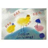 Альбом для рисования 24л А4,склейка,блок 100гр, Pi-Pi 00003