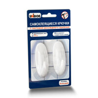 Крючки самоклеящиеся Unibob удаляемые белые нагрузка до 2 кг (2 штуки в упаковке)