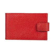 Визитница карманная Fabula на 40 визиток из натуральной кожи красного цвета V.31.ВК