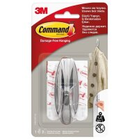 Крючок Command хромированный нагрузка до 1.35 кг (1 штука + 3 клейких полоски)