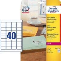 Этикетки самоклеящиеся Avery Zweckform адресные прозрачные 45.7x25.4 мм 40 штук на листе A4 25 листов
