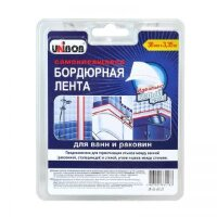 Клейкая лента бордюрная Unibob для герметизации стыков ванн и раковин белая 60 мм x 3.35 м толщина 40 мкм