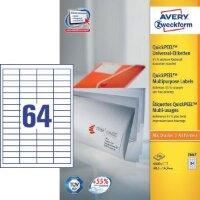 Этикетки самоклеящиеся Avery Zweckform белые 48.5х16.9 мм 64 штуки на листе A4 100 листов