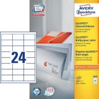 Этикетки самоклеящиеся Avery Zweckform белые 64.6х33.8 мм 24 штуки на листе A4 100 листов