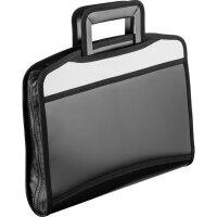 Папка-портфель Attache пластиковая А4+ черная/серая (275x350 мм 5 отделений с выдвижными ручками)