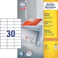 Этикетки самоклеящиеся Avery Zweckform белые 70х29.7 мм 30 штук на листе A4 100 листов