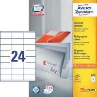 Этикетки самоклеящиеся Avery Zweckform белые 70х35 мм 24 штуки на листе A4 100 листов