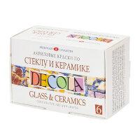 Акриловые краски Decola для стекла и керамики 6 штук по 20 мл